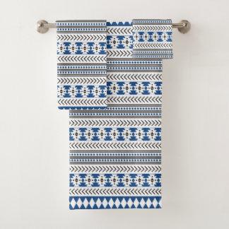 アステカな種族のプリントの青の白黒 バスタオルセット
