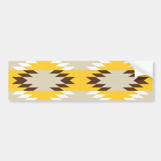 アステカな種族の黄色ブラウンのネイティブアメリカンのデザイン バンパーステッカー