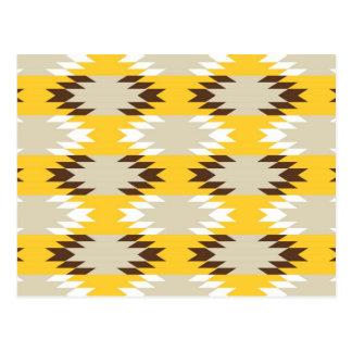 アステカな種族の黄色ブラウンのネイティブアメリカンのデザイン ポストカード