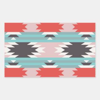 アステカな種族パターンネイティブアメリカンのプリント 長方形シール