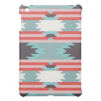 アステカな種族パターンネイティブアメリカンの赤い青 iPad MINIケース