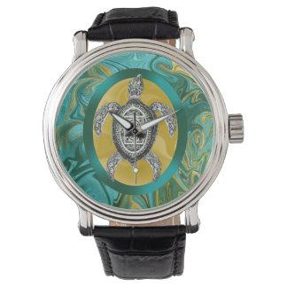 アステカな紋章のウミガメ 腕時計