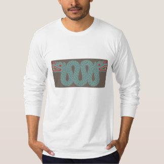 アステカな蛇の人の合われた長袖のワイシャツ Tシャツ
