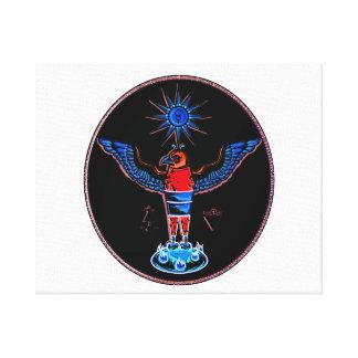 アズテック派の黒いスタイルのワシの太陽の記号の異教徒design.p キャンバスプリント