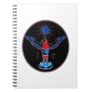 アズテック派の黒いスタイルのワシの太陽の記号の異教徒design.p ノートブック