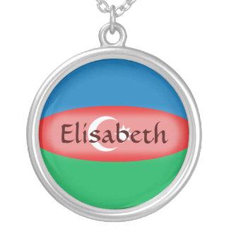 アゼルバイジャンの旗 + 一流のネックレス シルバープレートネックレス