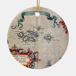 アゾレスの古い地図-調査を航海するヴィンテージ セラミックオーナメント