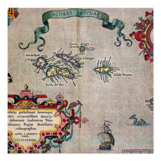 アゾレスの古い地図-調査を航海するヴィンテージ ポスター