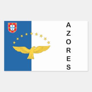 アゾレスの島のポルトガルの旗のステッカー 長方形シール