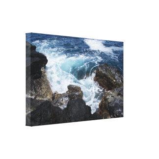アゾレスの海の波の渦の円形の石の写真2のsml キャンバスプリント