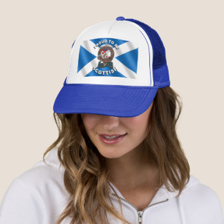 アダムの一族はスコットランドのトラック運転手の帽子に記章を付けます キャップ