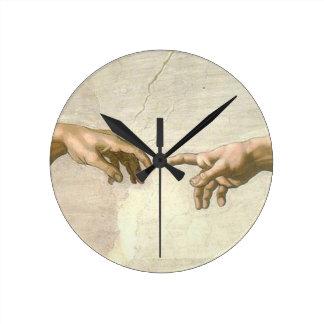 アダム手の作成-ミケランジェロ ラウンド壁時計