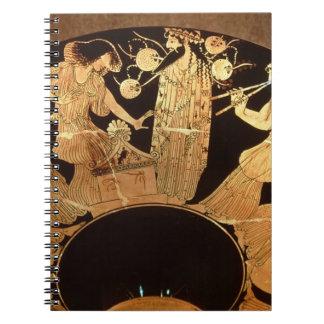アチックのDionysusを描写する赤い姿のkylixおよび ノートブック