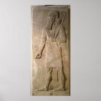 アッシリアの戦士のレリーフ、浮き彫り プリント