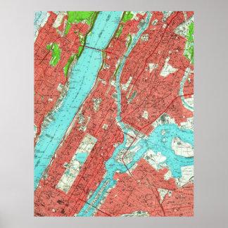 アップタウンのマンハッタン及びブロンクス(1956年)のヴィンテージの地図 ポスター