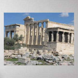 アテネのアクロポリスのErecthionの寺院 ポスター