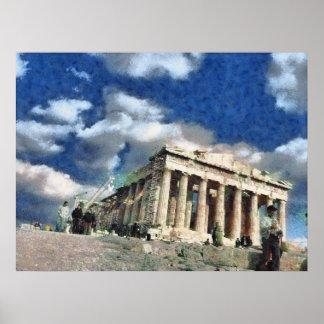 アテネのアクロポリスへの訪問者 ポスター