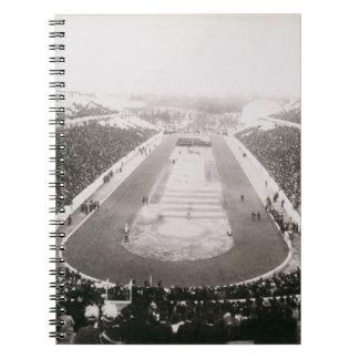 アテネの最初の公式のオリンピック大会の眺め ノートブック