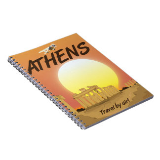 """アテネの""""空気による旅行""""金日没 ノートブック"""