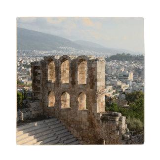 アテネを見落とすアクロポリスの古代台なし ウッドコースター