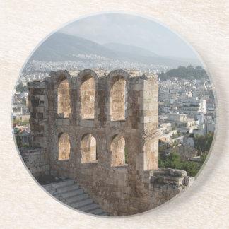 アテネを見落とすアクロポリスの古代台なし コースター