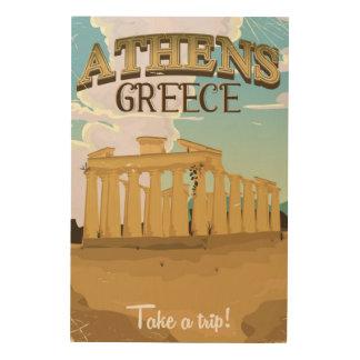 アテネギリシャのアクロポリスのヴィンテージ旅行ポスター ウッドウォールアート