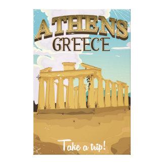 アテネギリシャのアクロポリスのヴィンテージ旅行ポスター キャンバスプリント