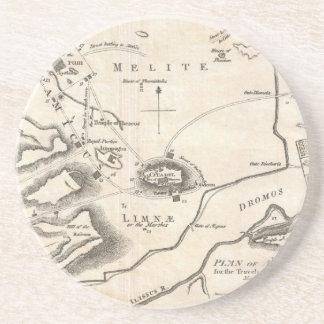 アテネギリシャ(1784年)のヴィンテージの地図 コースター