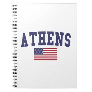アテネ米国の旗 ノートブック