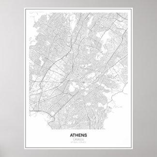 アテネ、ギリシャの最小主義の地図ポスター(スタイル2) ポスター