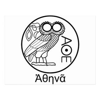 アテーナーのフクロウのtetradrachm (ギリシャのフォント) ポストカード