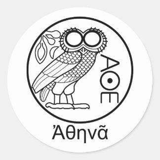 アテーナーのフクロウのtetradrachm (ギリシャのフォント) ラウンドシール