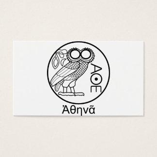 アテーナーのフクロウのtetradrachm (ギリシャのフォント) 名刺