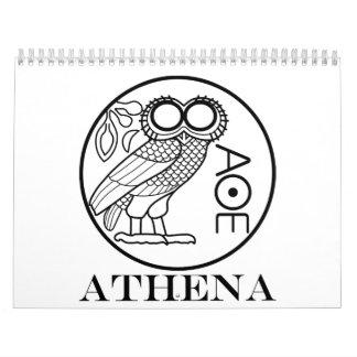 アテーナーのフクロウのtetradrachm (彫刻家のフォント) カレンダー