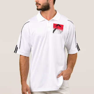 アディダスの赤、白黒抽象的なゴルフワイシャツ ポロシャツ