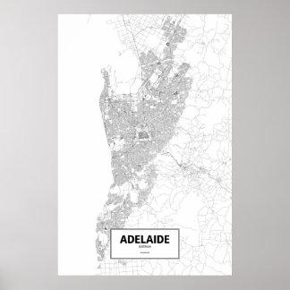 アデレード、オーストラリア(白の黒) ポスター