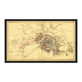 アトランタの内戦の地図1864年7月の威厳があるな-包囲 キャンバスプリント