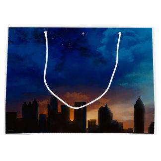 アトランタジョージア夜スカイライン-ギフトバッグ ラージペーパーバッグ