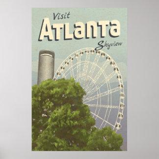 アトランタSkyview観覧車のヴィンテージ旅行ポスター ポスター