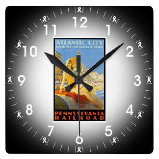 アトランティック・シティの柱時計へのペンシルバニアの鉄道 スクエア壁時計