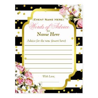 アドバイスカード は、バラ、紙吹雪縞で飾ります ポストカード