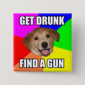 アドバイス犬ボタン 5.1CM 正方形バッジ