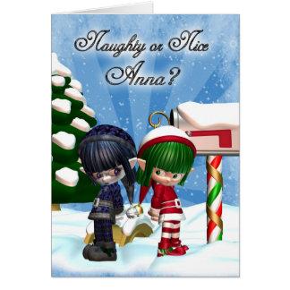 アナのクリスマスの休日カード無価値なかニースElfsの カード