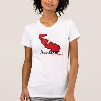 アナハイムカリフォルニア赤いくまの記号のティー Tシャツ