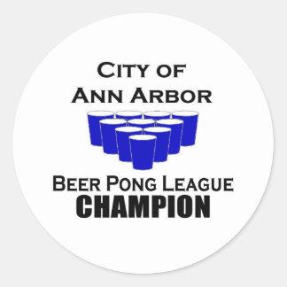 アナーバービールPongのチャンピオン ラウンドシール