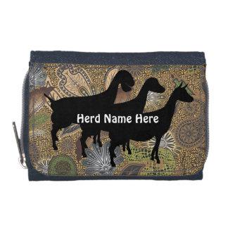 アニマルプリントのペイズリーのヤギの群れの名前の財布