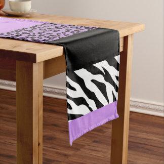 アニマルプリント、シマウマ、斑点を付けられたヒョウ-紫色 ミディアムテーブルランナー