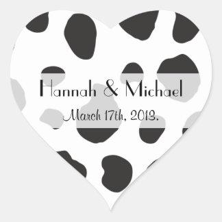 -アニマルプリント、牛点-白い黒の結婚 ハートシール