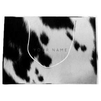 アニマル・スキンの白黒の抽象芸術牛灰色の魅力 ラージペーパーバッグ