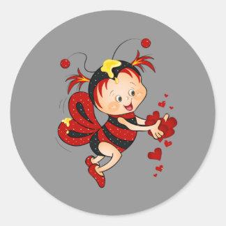 アニメのバレンタインデーの赤の蜂 ラウンドシール